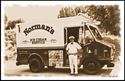 Nostalalgic Photo of Dawyne and The Ice Cream Truck (black & white photo)