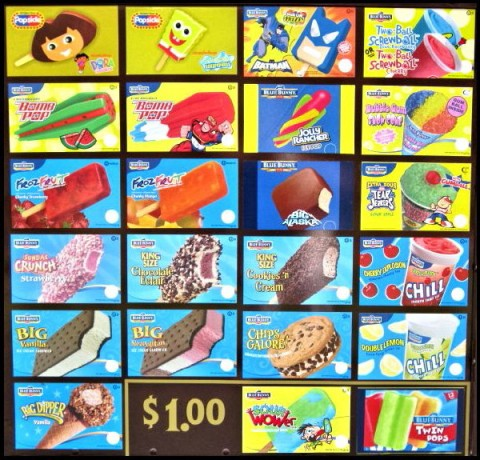 Picture of different ice cream flavors and popsicles to choose from